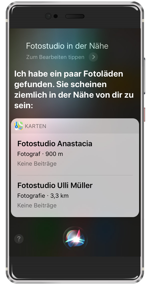 Voice Search auf Siri Besipiel